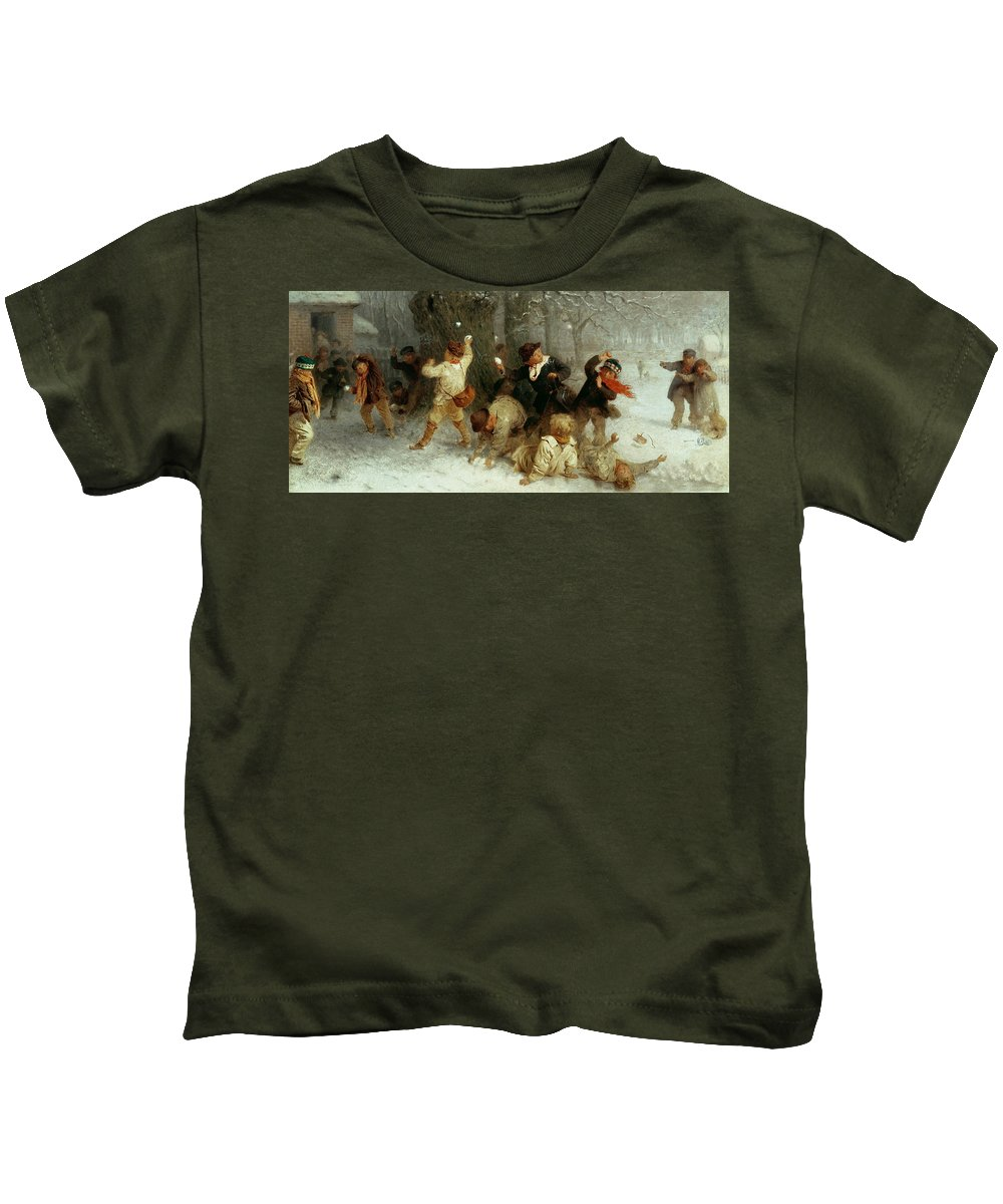 Snowballing Kids T-Shirt featuring the painting Snowballing by John Morgan