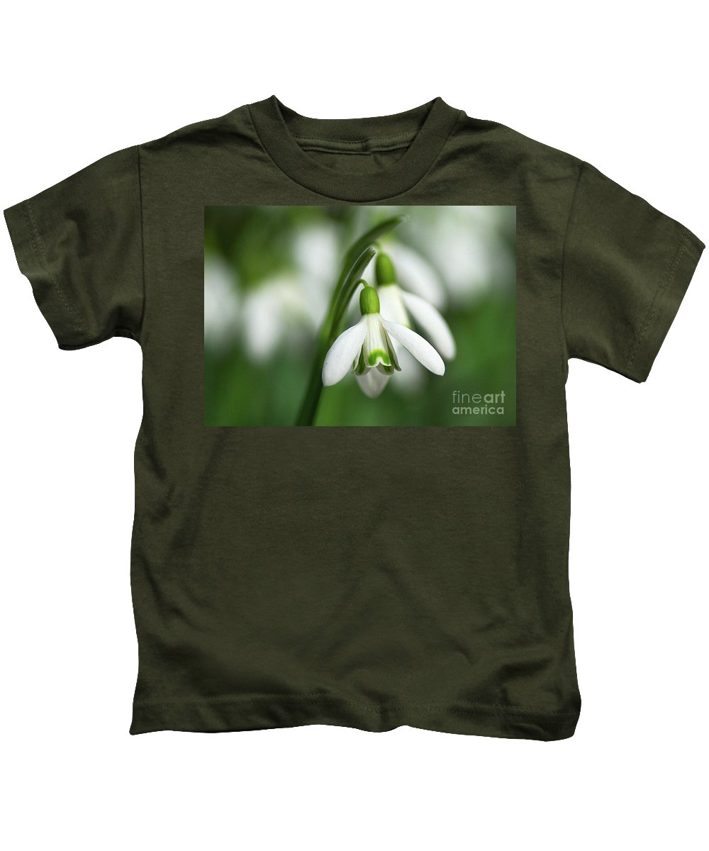 Snowdrops Kids T-Shirt featuring the photograph Snowdrops by Sharon Talson