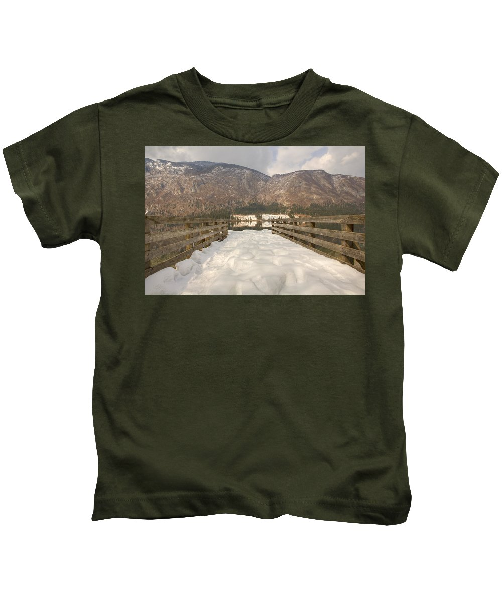 Mountains Kids T-Shirt featuring the photograph Snowy Alpine Lake by Ian Middleton