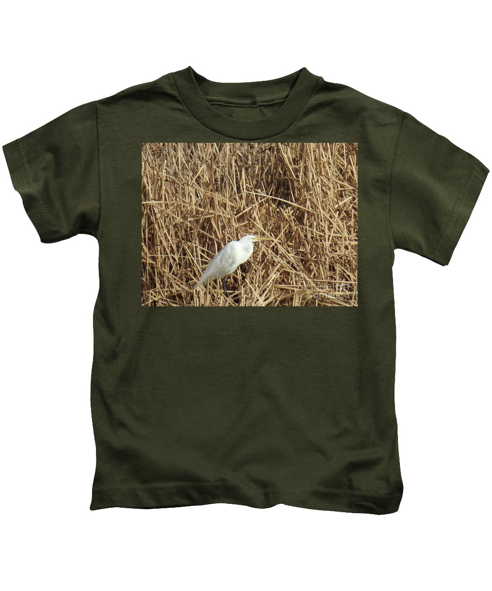 Snowy Egret In Tall Grasses Kids T-Shirt featuring the photograph Snowy Egret In Tall Grasses by Ruth Housley