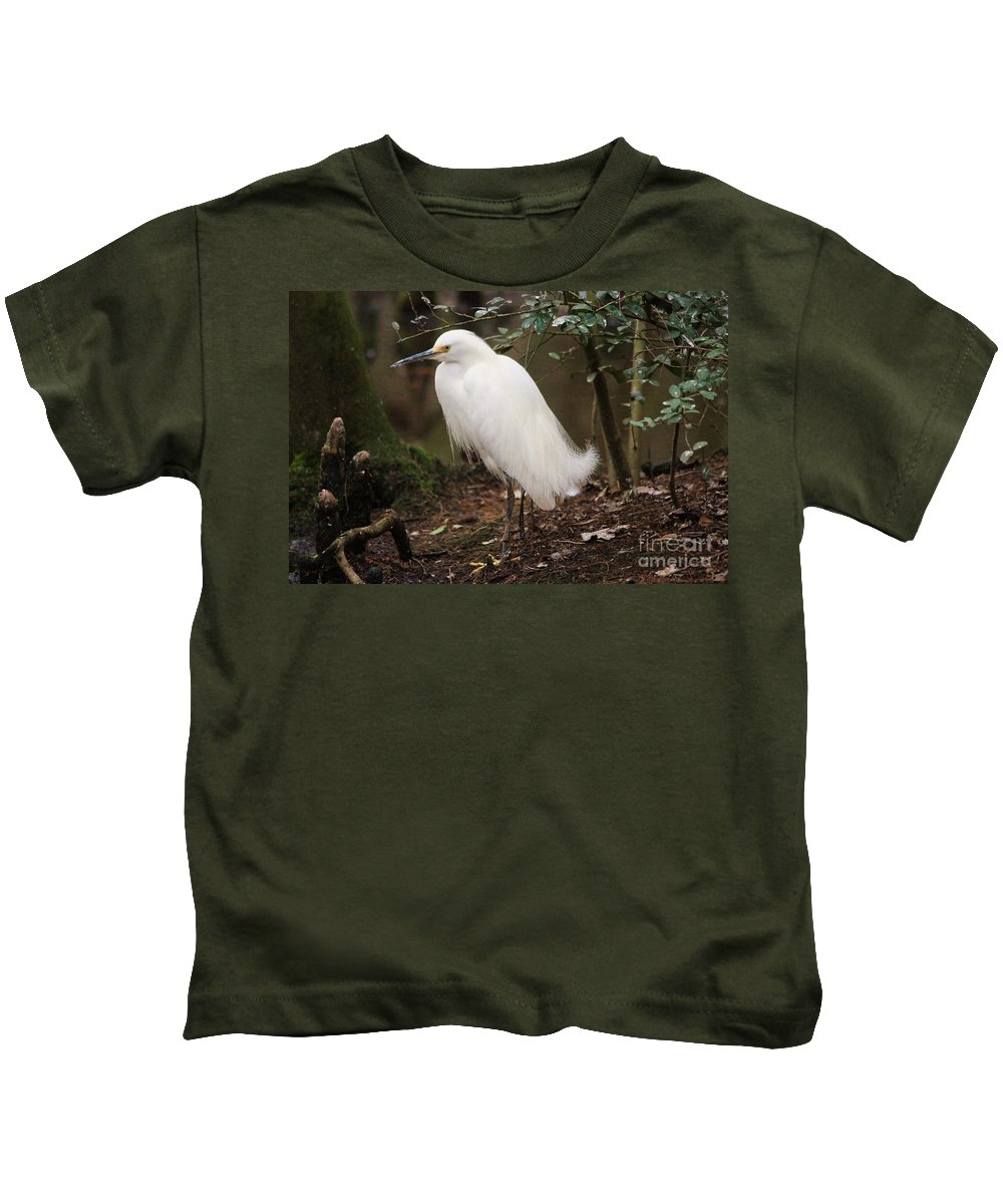 Snowy Egret Kids T-Shirt featuring the photograph Snowy In The Marsh by Paulette Thomas