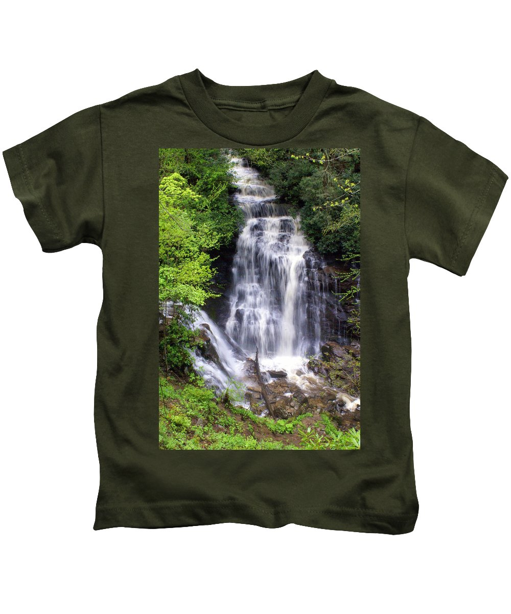 Soco Galls Kids T-Shirt featuring the photograph Soco Falls 1 by Marty Koch