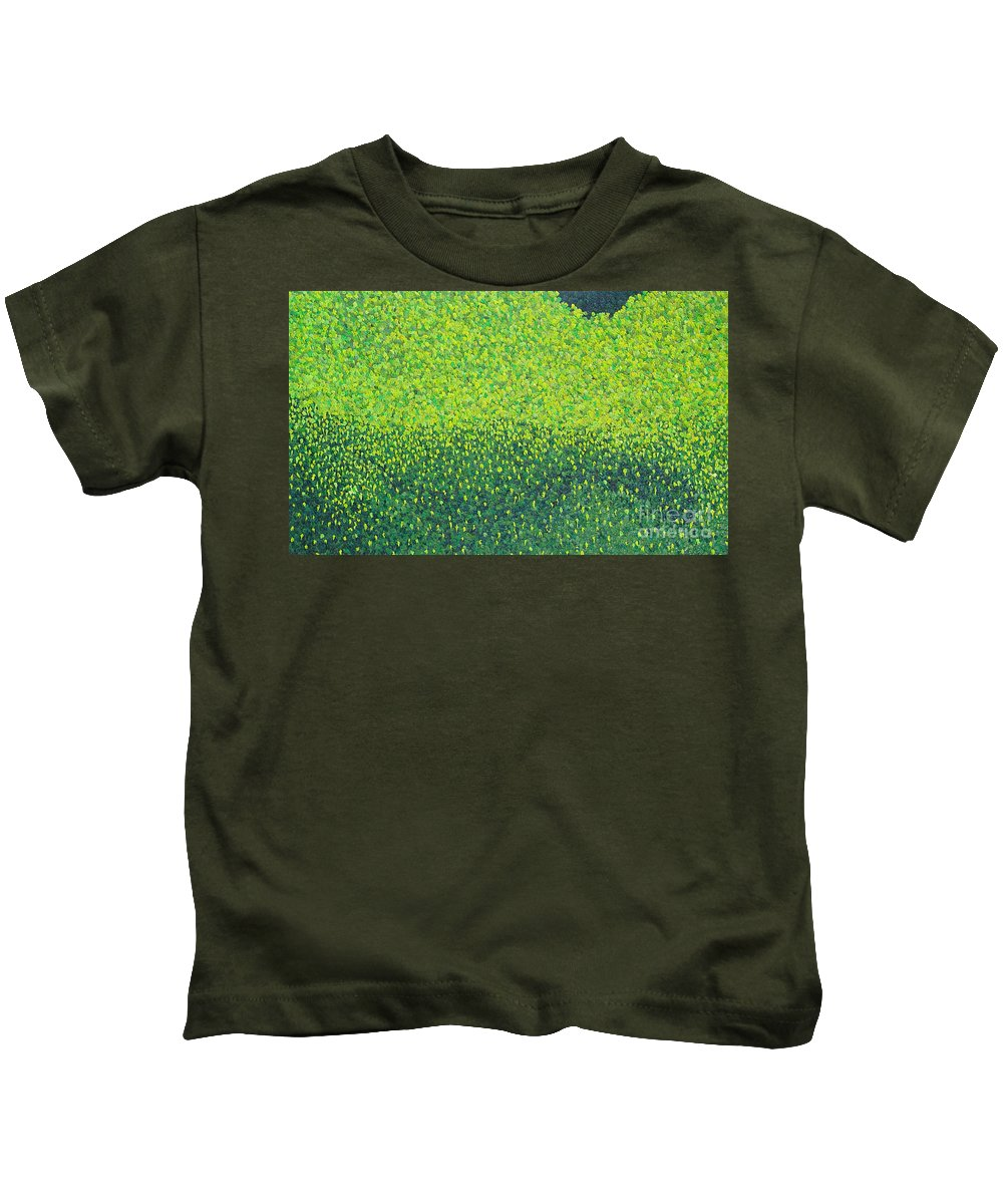 Abstract Kids T-Shirt featuring the painting Soft Green Wet Trees by Dean Triolo