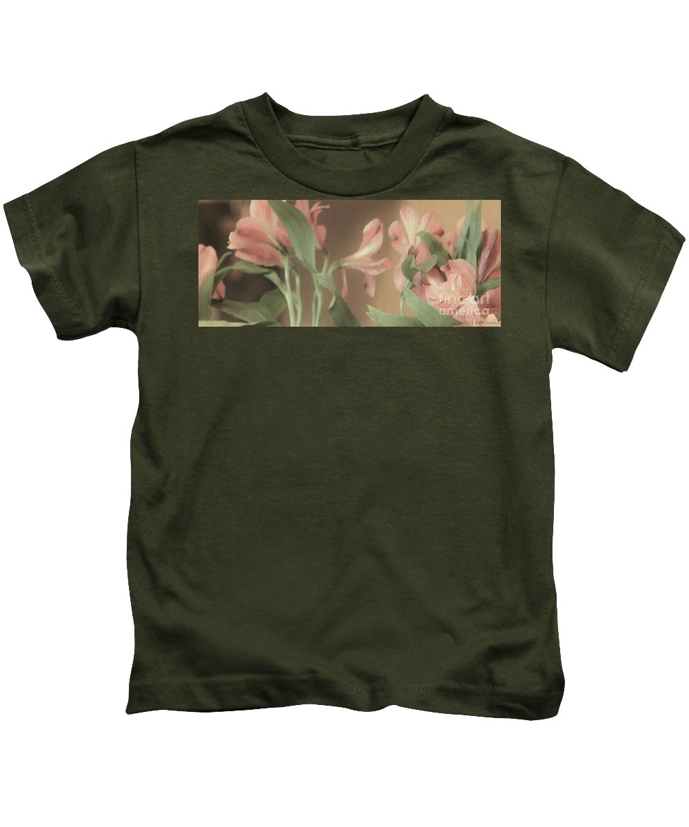 Soft Lilies Kids T-Shirt featuring the digital art Soft Lilies by Elizabeth McTaggart