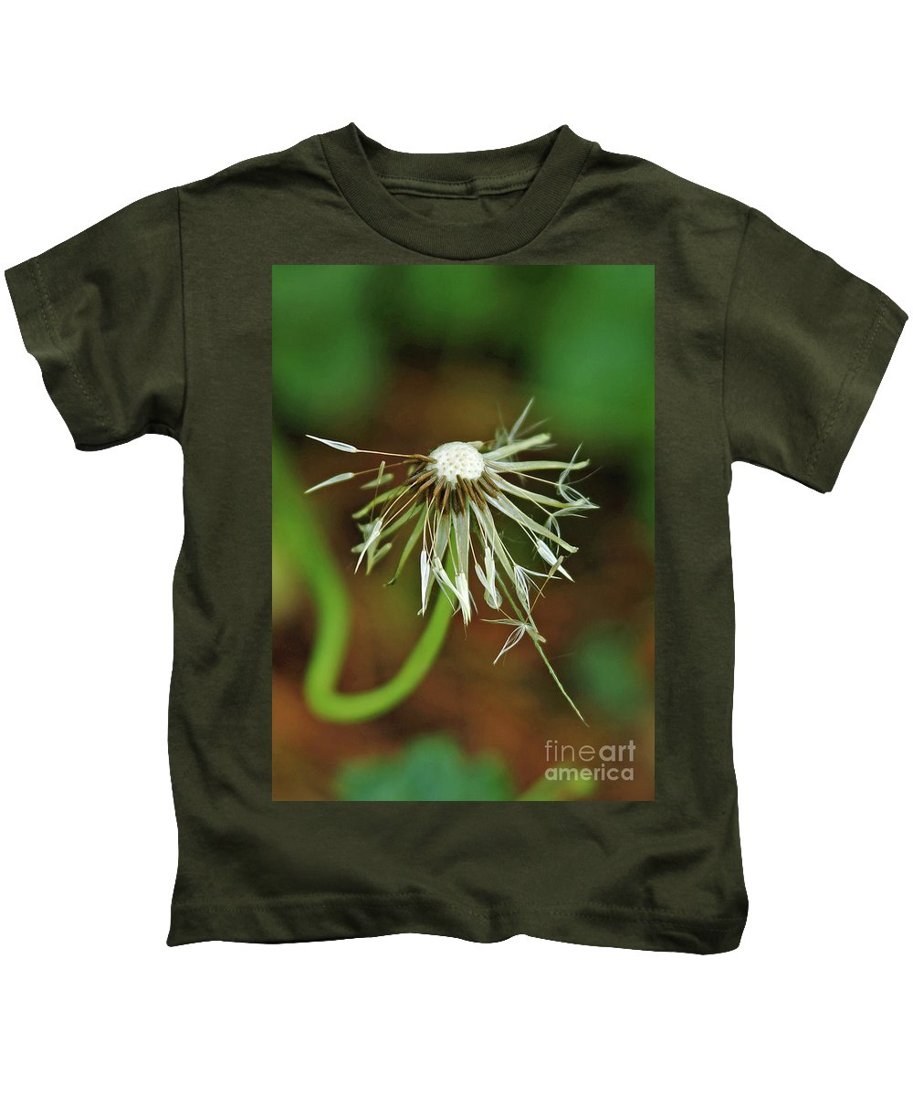 Water Kids T-Shirt featuring the photograph Soggy Dandelion by Robin Clifton