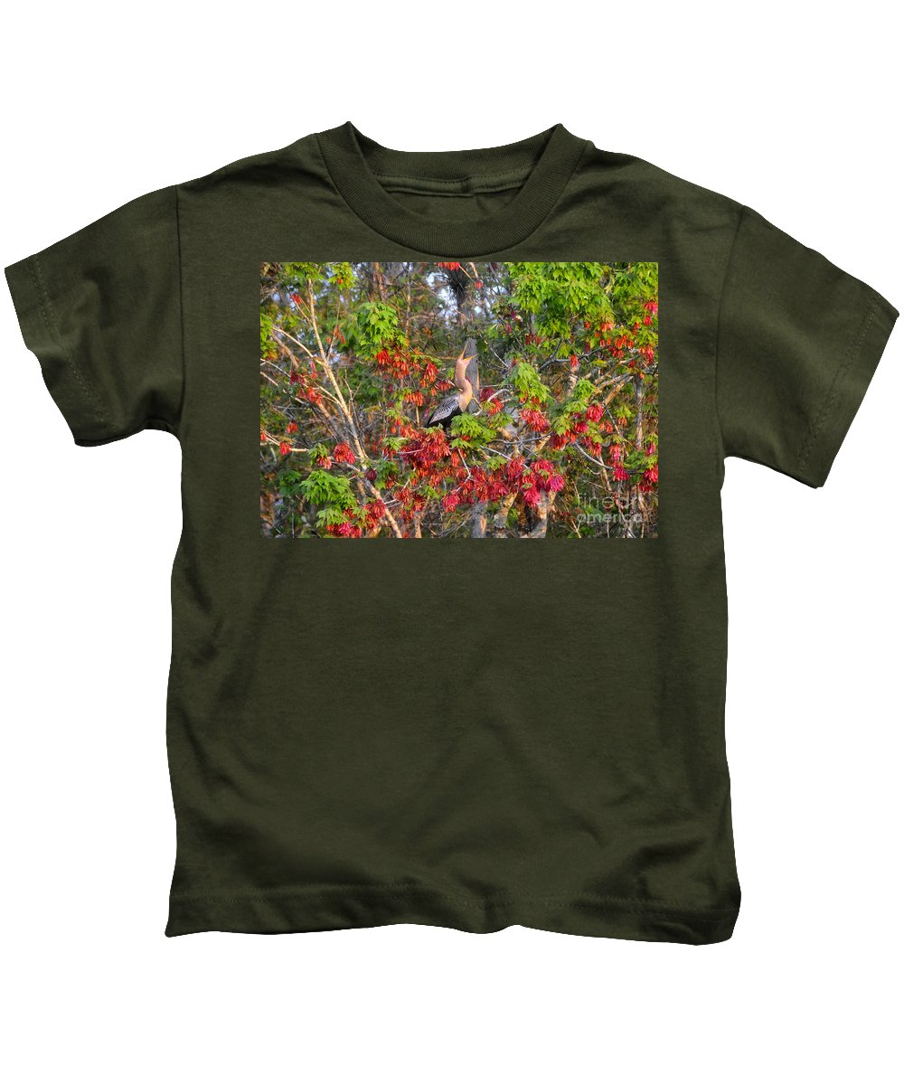 Anhinga Kids T-Shirt featuring the photograph Song Of The Anhinga by David Lee Thompson