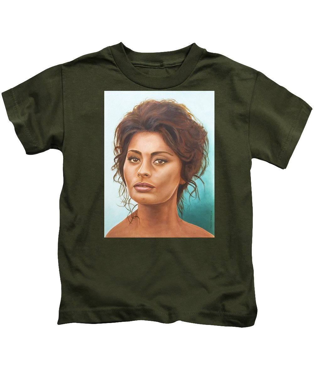 Moviestar Kids T-Shirt featuring the painting Sophia Loren by Rob De Vries