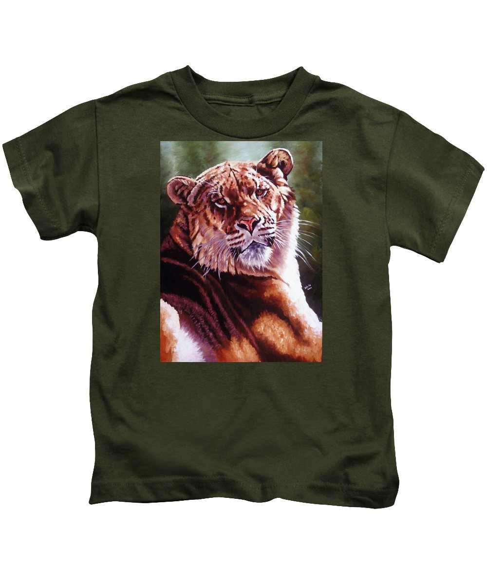 Hybrid Kids T-Shirt featuring the painting Sophie The Liger by Barbara Keith