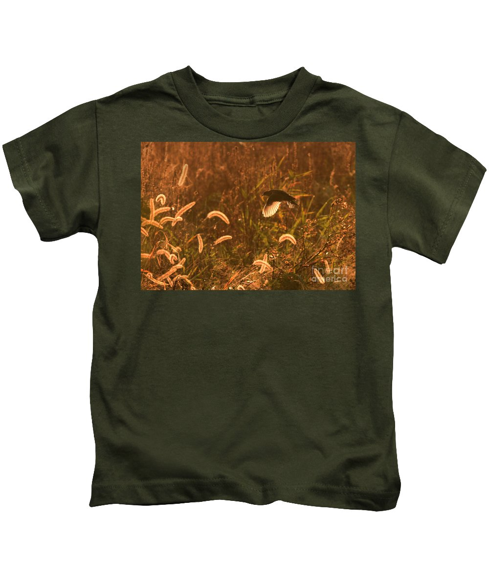 Sora Kids T-Shirt featuring the photograph Sora In Flight by Charles Owens