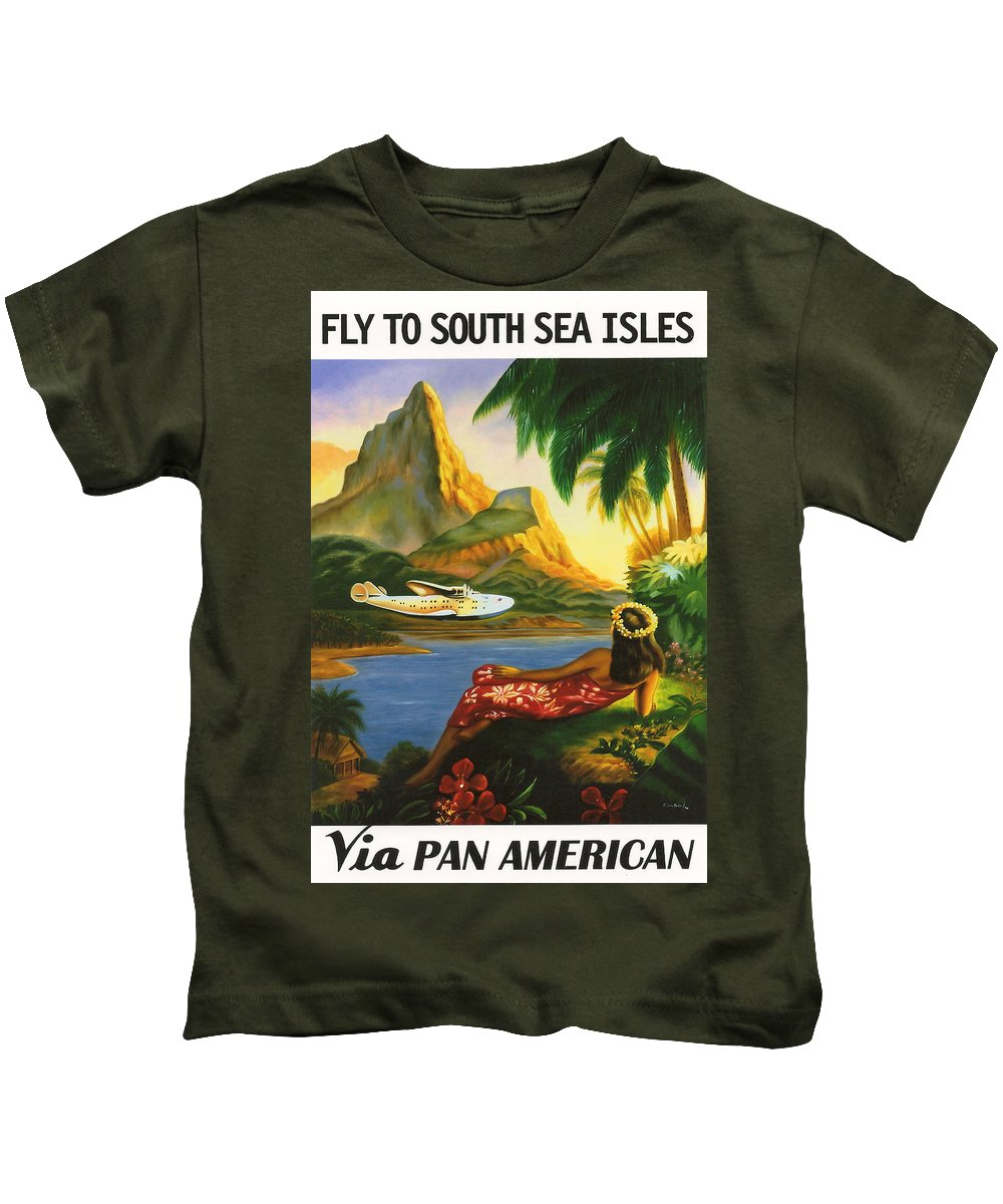 Background Kids T-Shirt featuring the digital art South Sea Isles by Georgia Fowler
