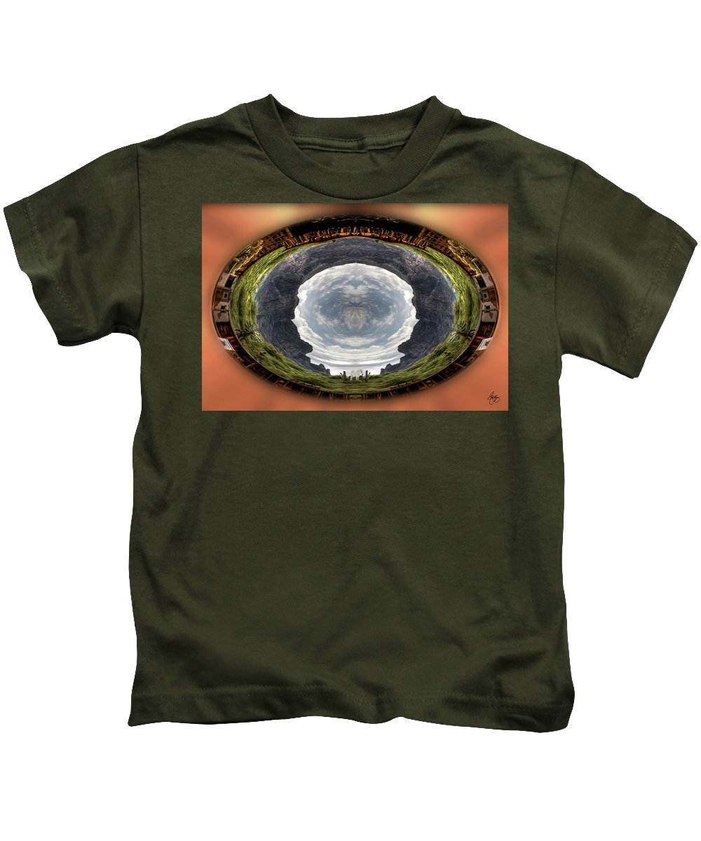 White Kids T-Shirt featuring the photograph Spirit Pony In Earth Oculus by Wayne King