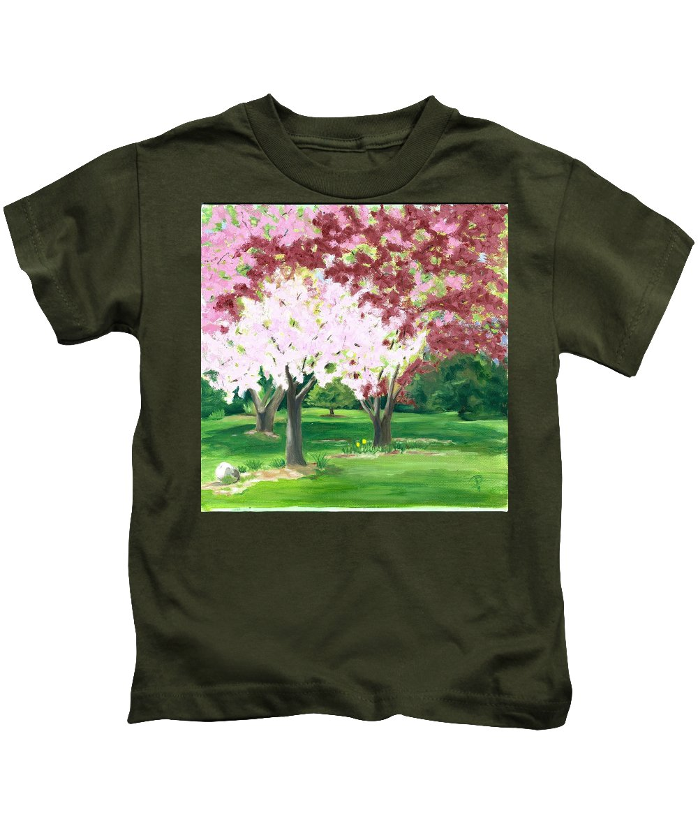 Spring Kids T-Shirt featuring the painting Spring At Osage Land Trust by Paula Emery