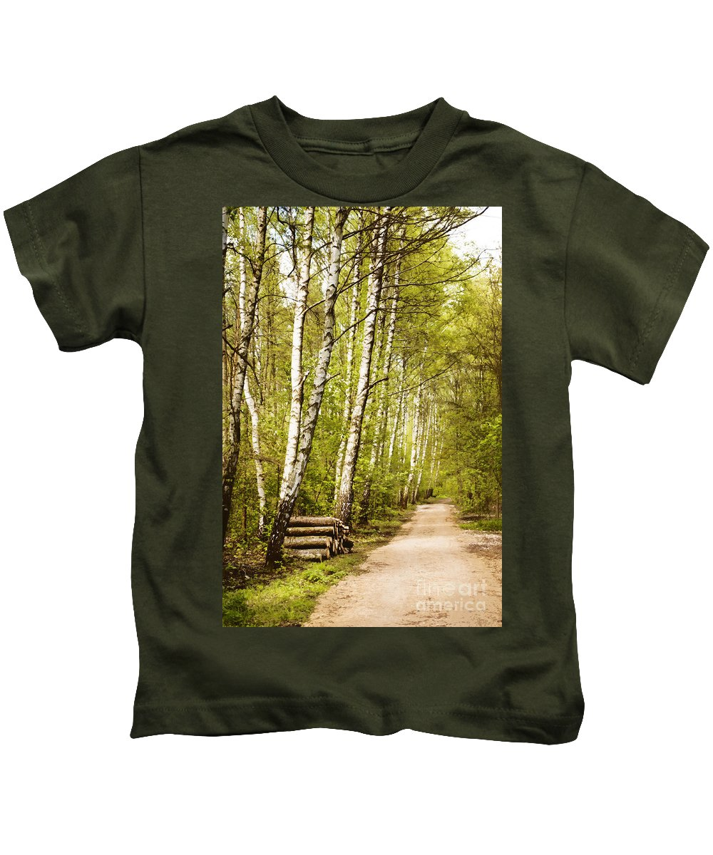 Forest Kids T-Shirt featuring the photograph Spring Birches Woods Footpath by Arletta Cwalina