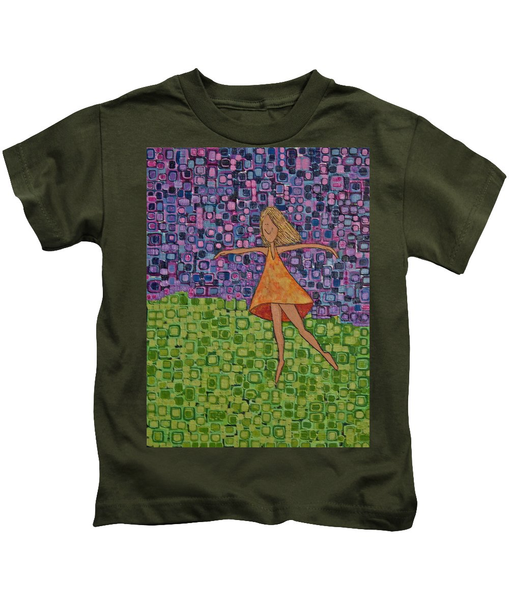 Whimsical Kids T-Shirt featuring the painting Spring by Donna Howard