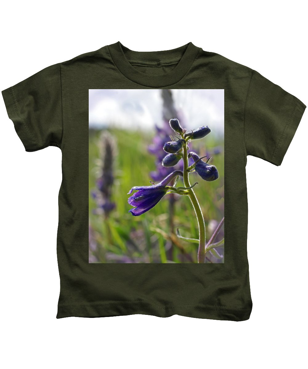 Larkspur Kids T-Shirt featuring the photograph Spring Larkspur by Heather Coen