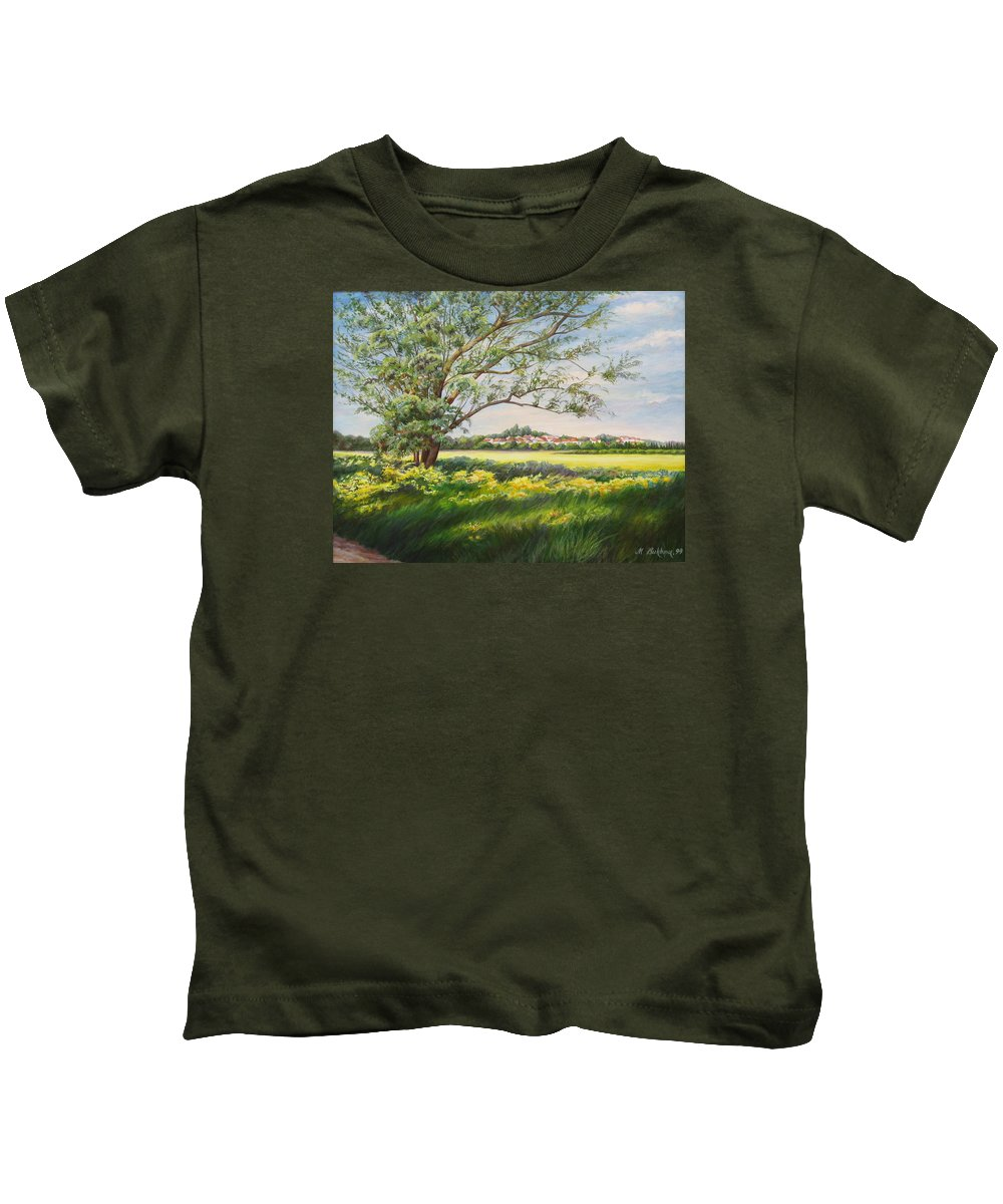 Landscape Kids T-Shirt featuring the painting Spring by Maya Bukhina