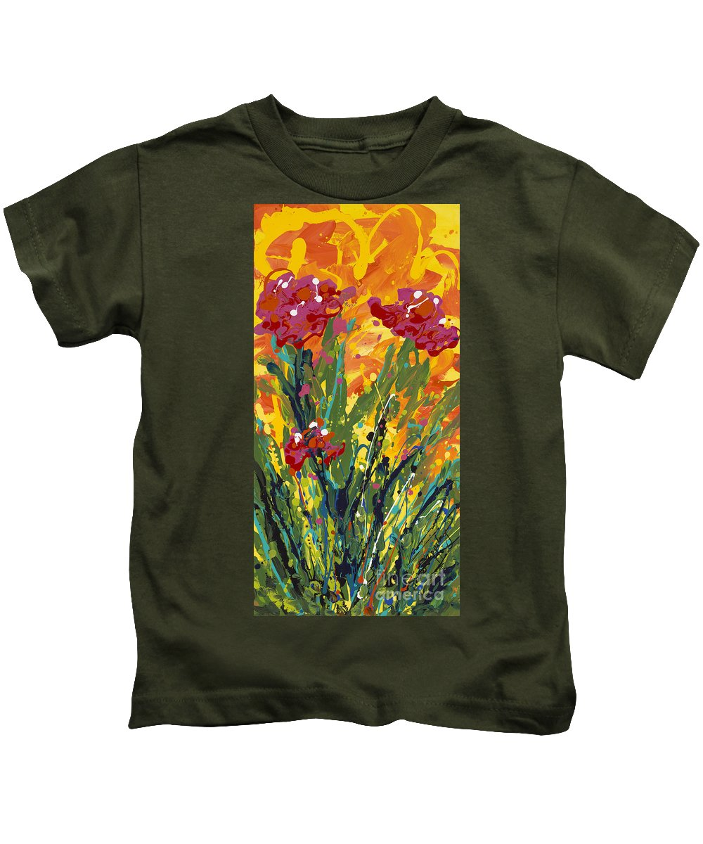 Spring Kids T-Shirt featuring the painting Spring Tulips Triptych Panel 1 by Nadine Rippelmeyer