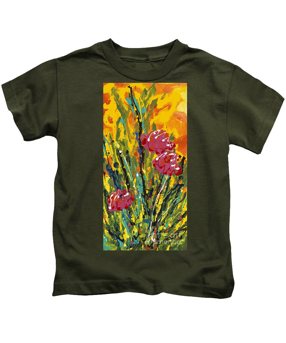 Flowers Kids T-Shirt featuring the painting Spring Tulips Triptych Panel 2 by Nadine Rippelmeyer
