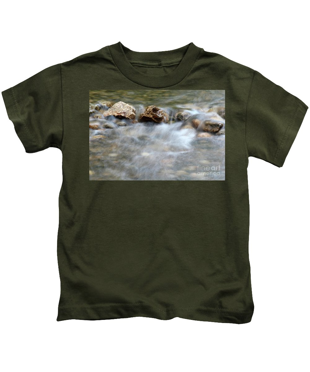 Stream Kids T-Shirt featuring the photograph Spring With Rocks Nature Scene by Goce Risteski