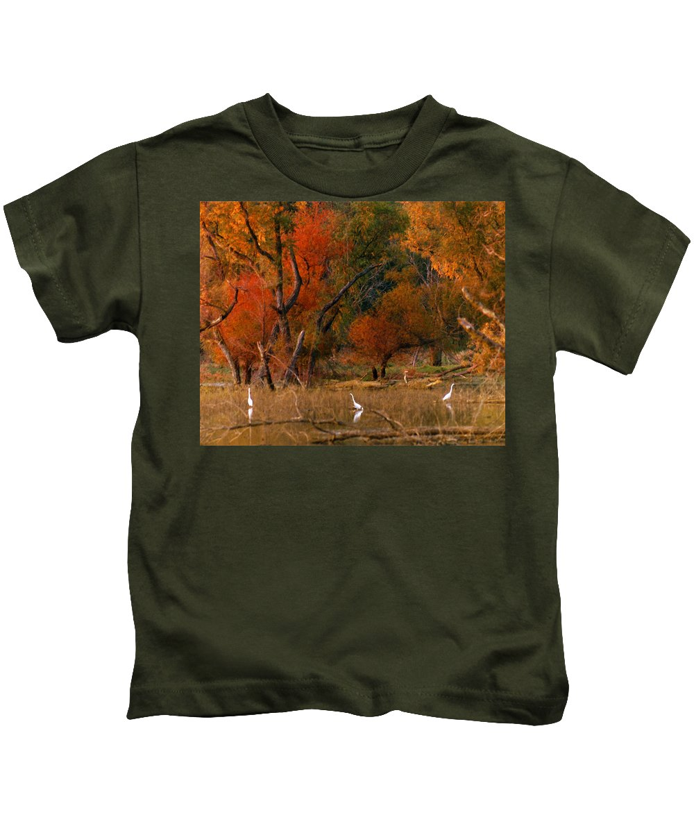 Landscape Kids T-Shirt featuring the photograph Squaw Creek Egrets by Steve Karol