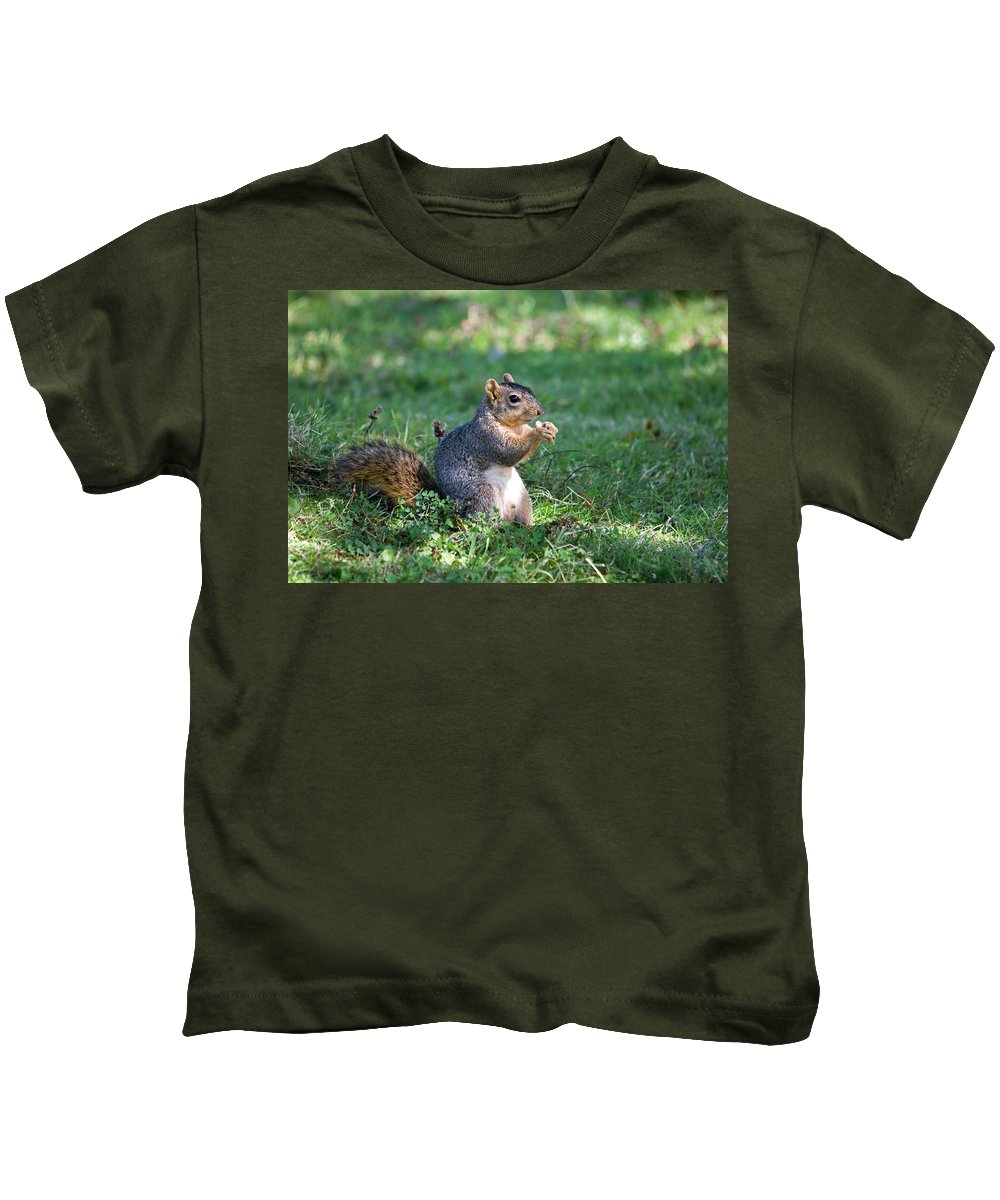 Animal Kids T-Shirt featuring the photograph Squirrel Eating A Nut - Eugene Oregon by Randall Ingalls
