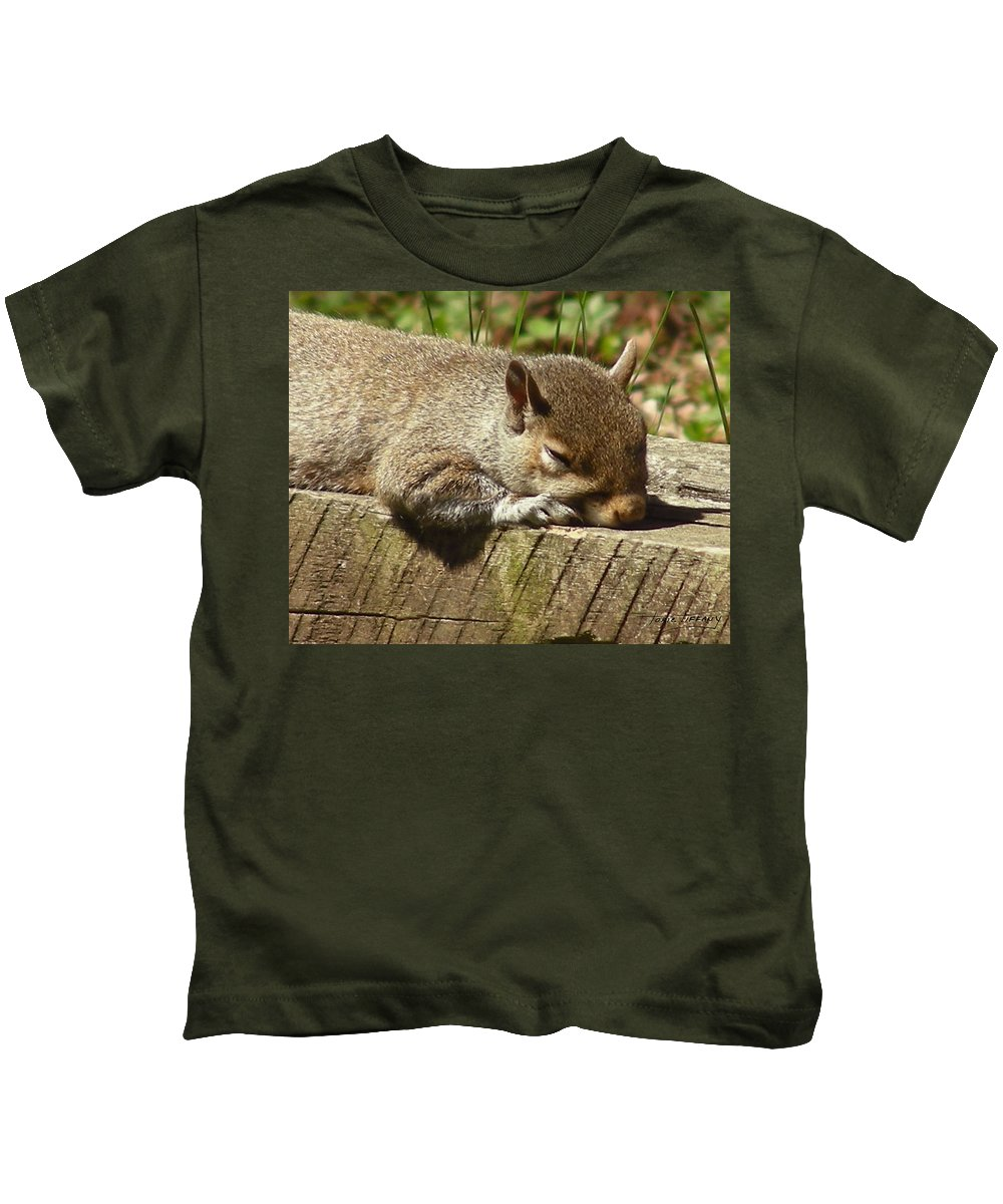 Faunagraphs Kids T-Shirt featuring the photograph Squirrel Nap by Torie Tiffany
