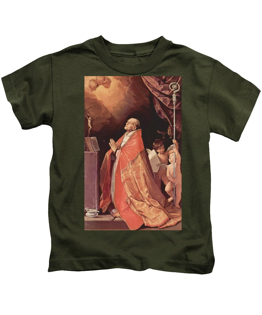 St Kids T-Shirt featuring the painting St Andrew Corsini In Prayer 1635 by Reni Guido