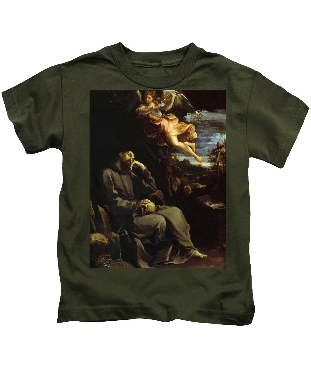 St Kids T-Shirt featuring the painting St Francis Consoled by Reni Guido