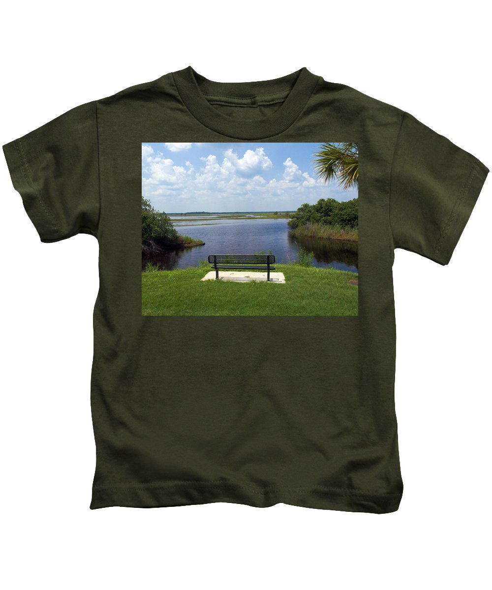St; Saint; John; Johns; River; Creek; Stream; Water; Waterway; Clouds; Reflections; Look; Over; Over Kids T-Shirt featuring the photograph St Johns River In Florida by Allan Hughes
