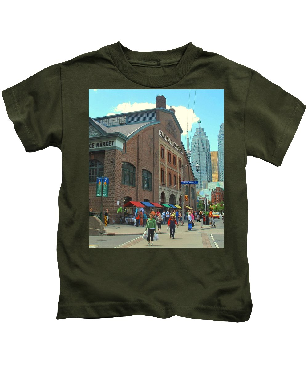 Market Kids T-Shirt featuring the photograph St Lawrence Market by Ian MacDonald