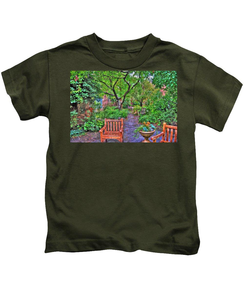 Greenwich Village Kids T-Shirt featuring the photograph St. Luke Garden Sanctuary by Randy Aveille