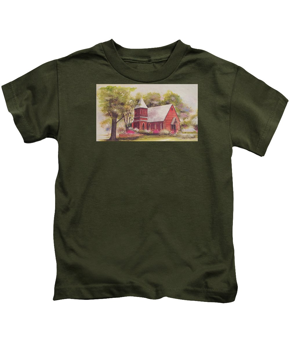 Charles Roy Smith Kids T-Shirt featuring the painting St. Mary's Chapel by Charles Roy Smith
