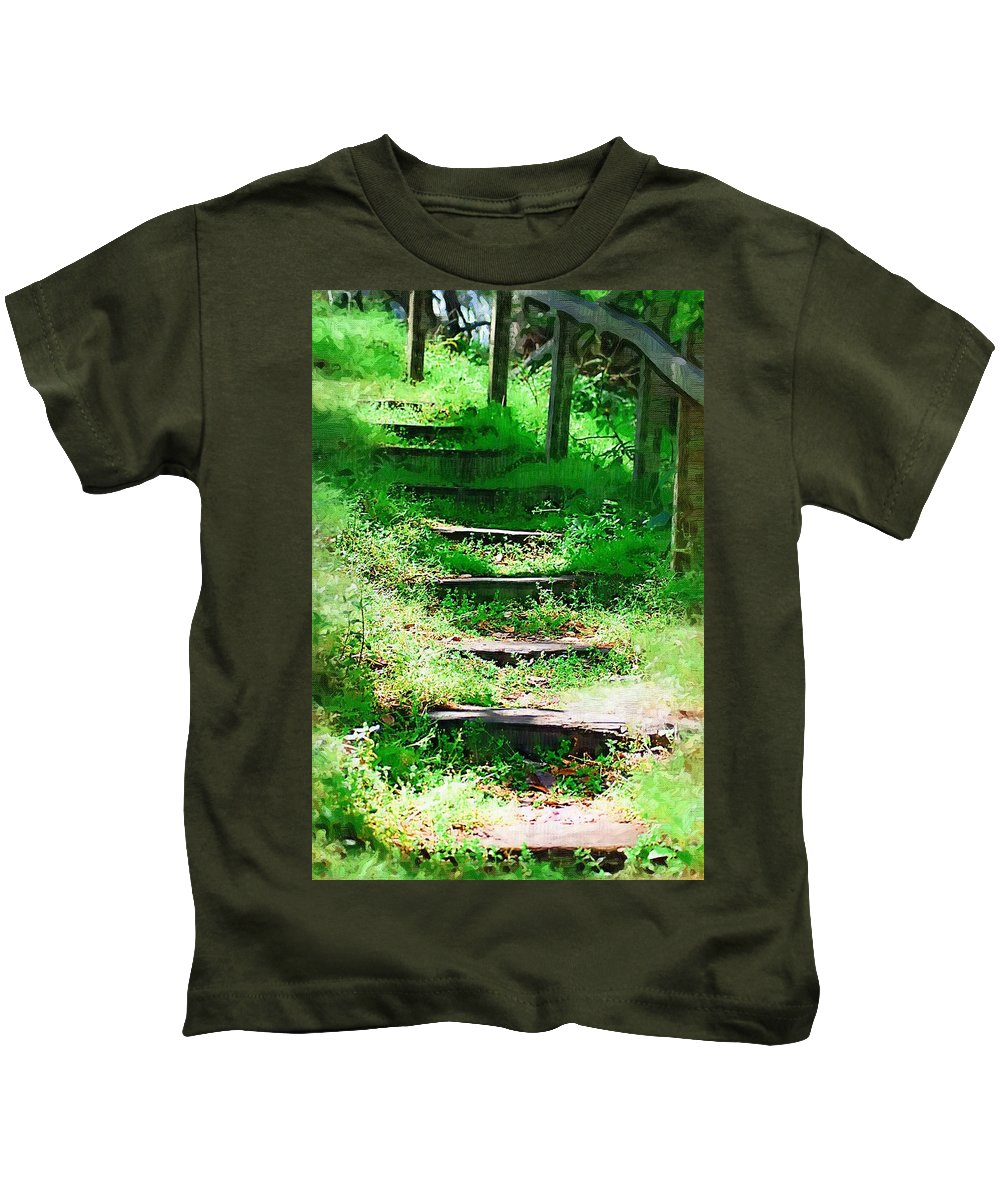 Stairs Kids T-Shirt featuring the photograph Stairway To Heaven by Donna Bentley