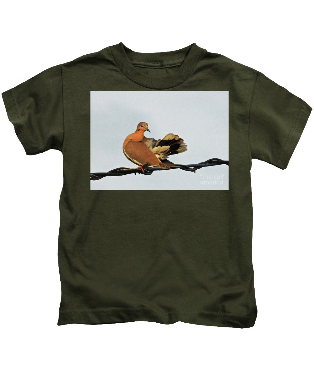 Bird Kids T-Shirt featuring the photograph Standing On The Line by Lydia Holly