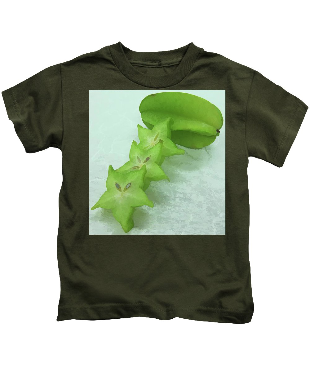 Star Apple Fruit On The Tree Kids T-Shirt featuring the painting Star Fruit Is Content Of Vitamin A And C by Jeelan Clark