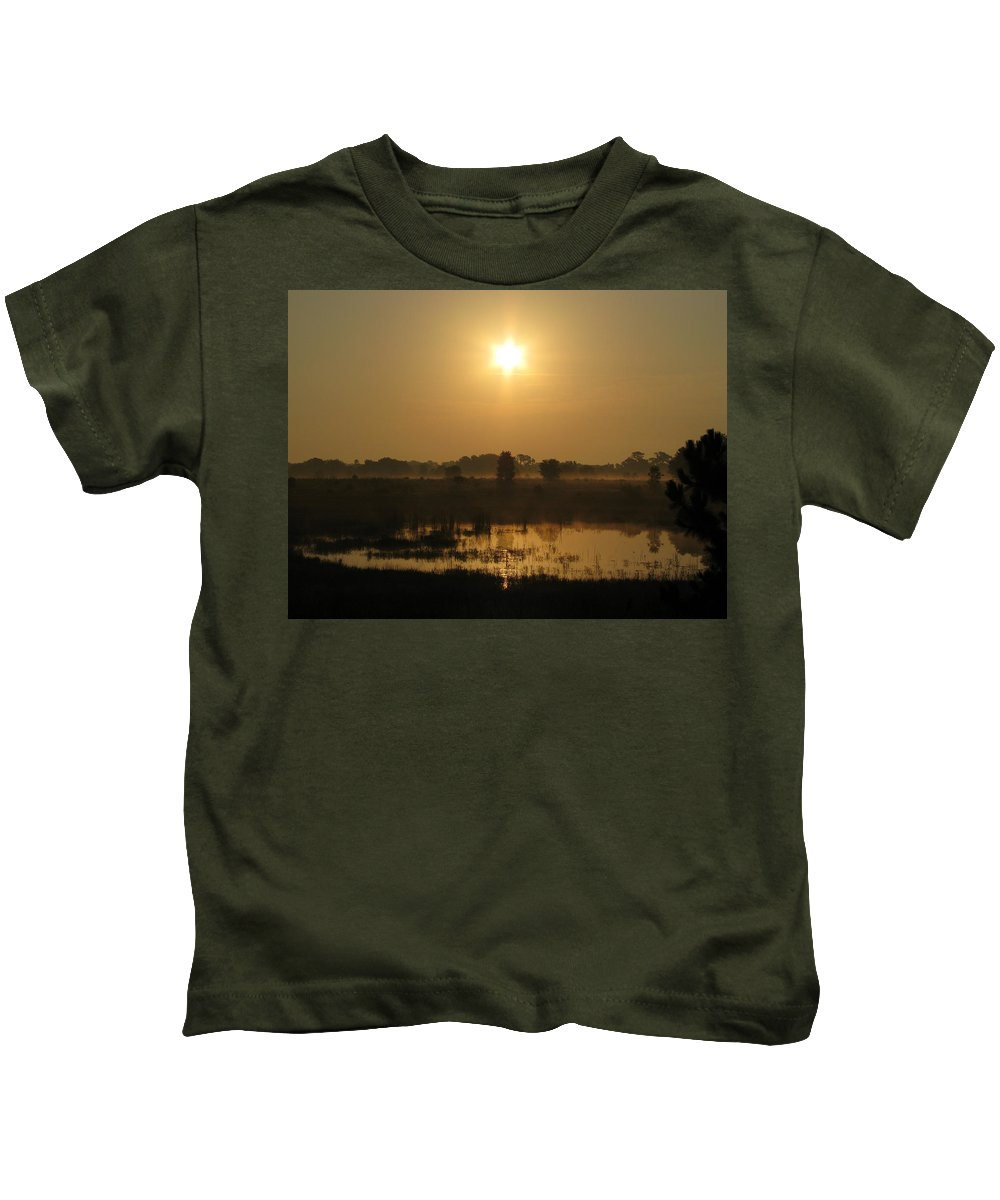 Nature Kids T-Shirt featuring the photograph Starry Sunrise by Peg Urban