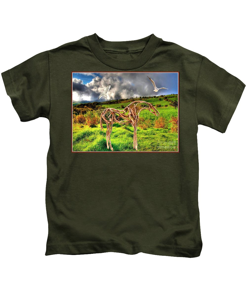 Modern Painting Kids T-Shirt featuring the mixed media Statue Of Branches 3 by Pemaro