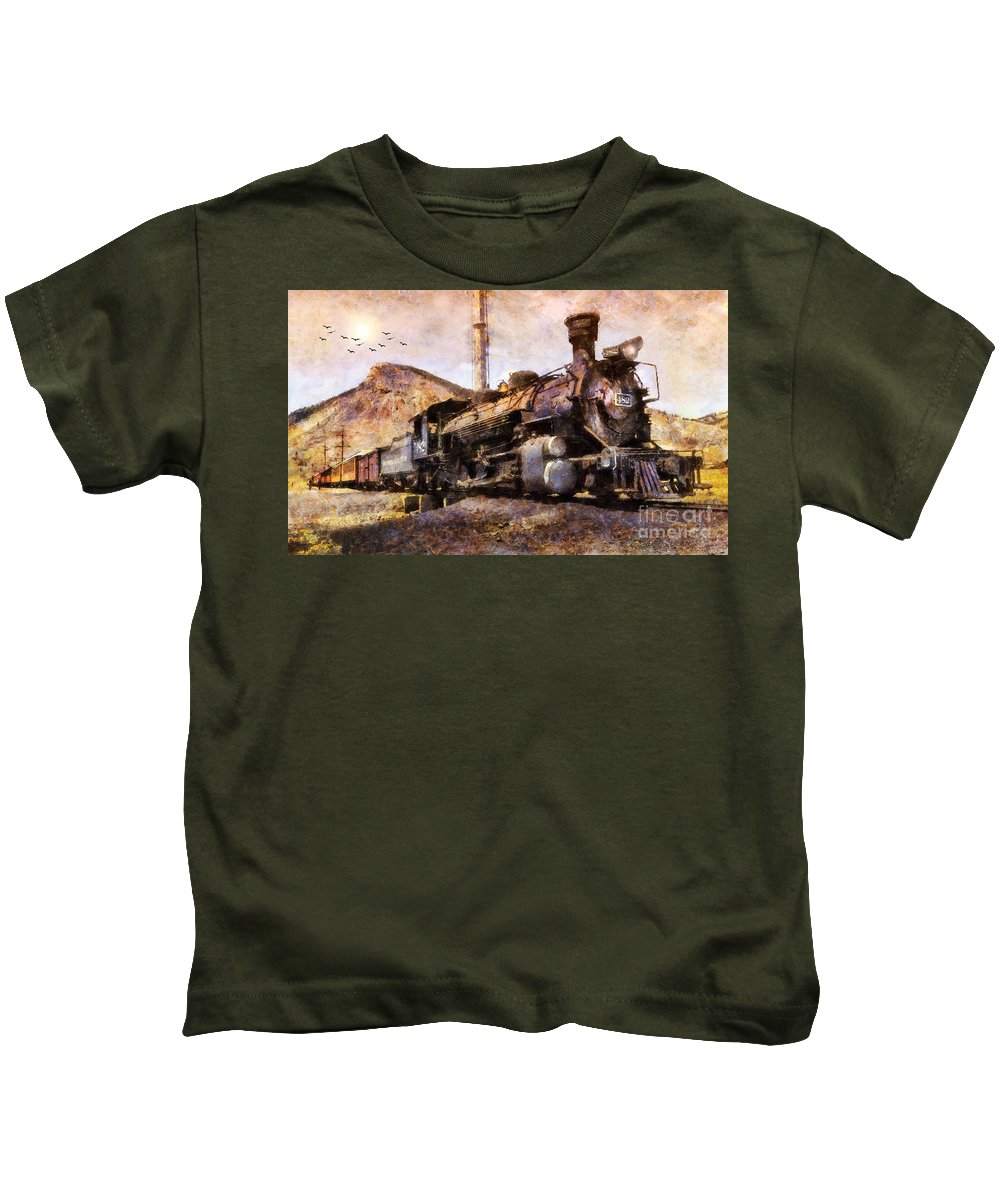 San Juan Mountains Kids T-Shirt featuring the digital art Steam Locomotive by Ian Mitchell