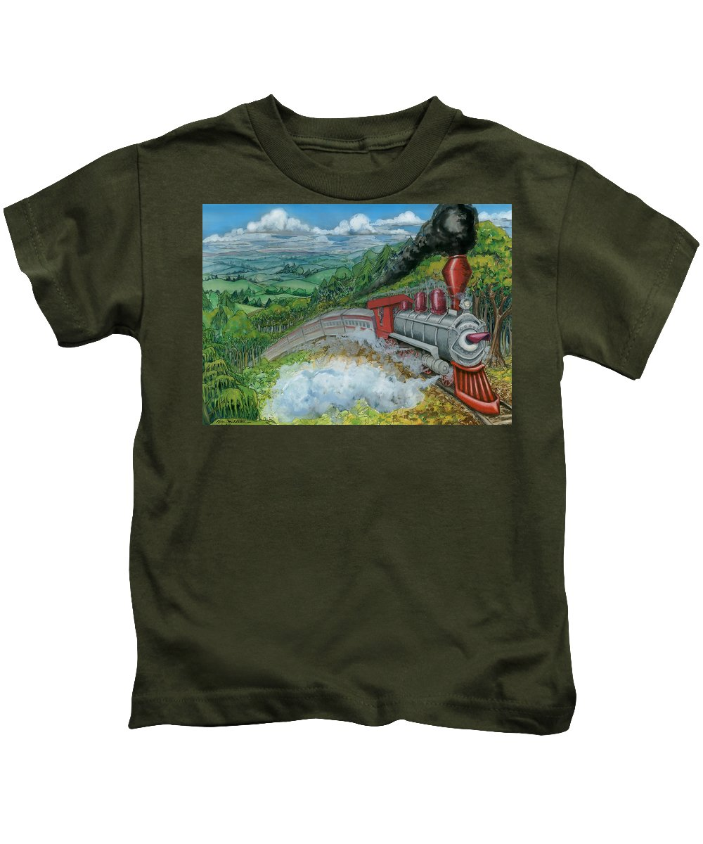 Train Kids T-Shirt featuring the painting Steam Train by Kevin Middleton