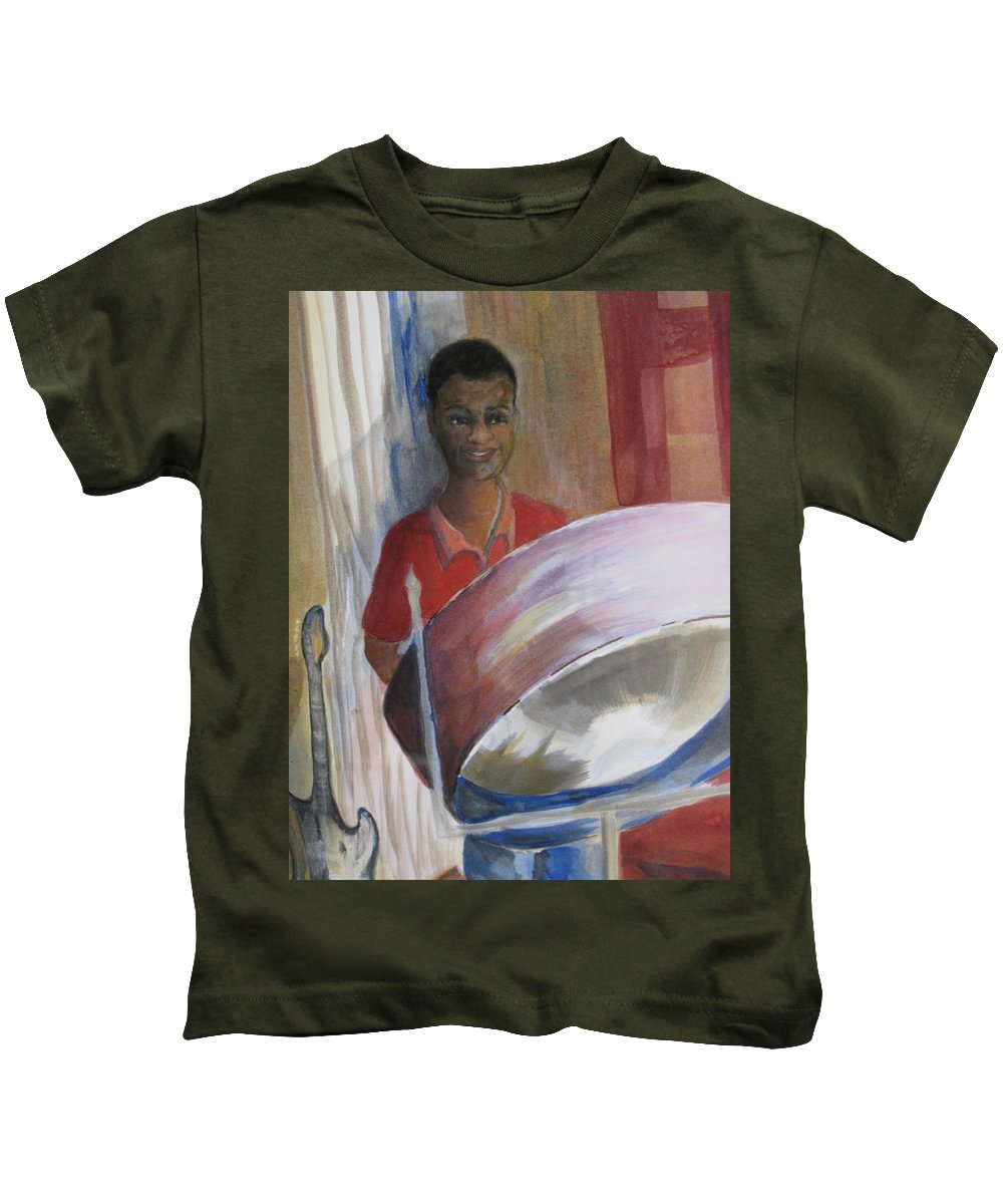Bahamas Kids T-Shirt featuring the painting Steel Drums by Donna Steward