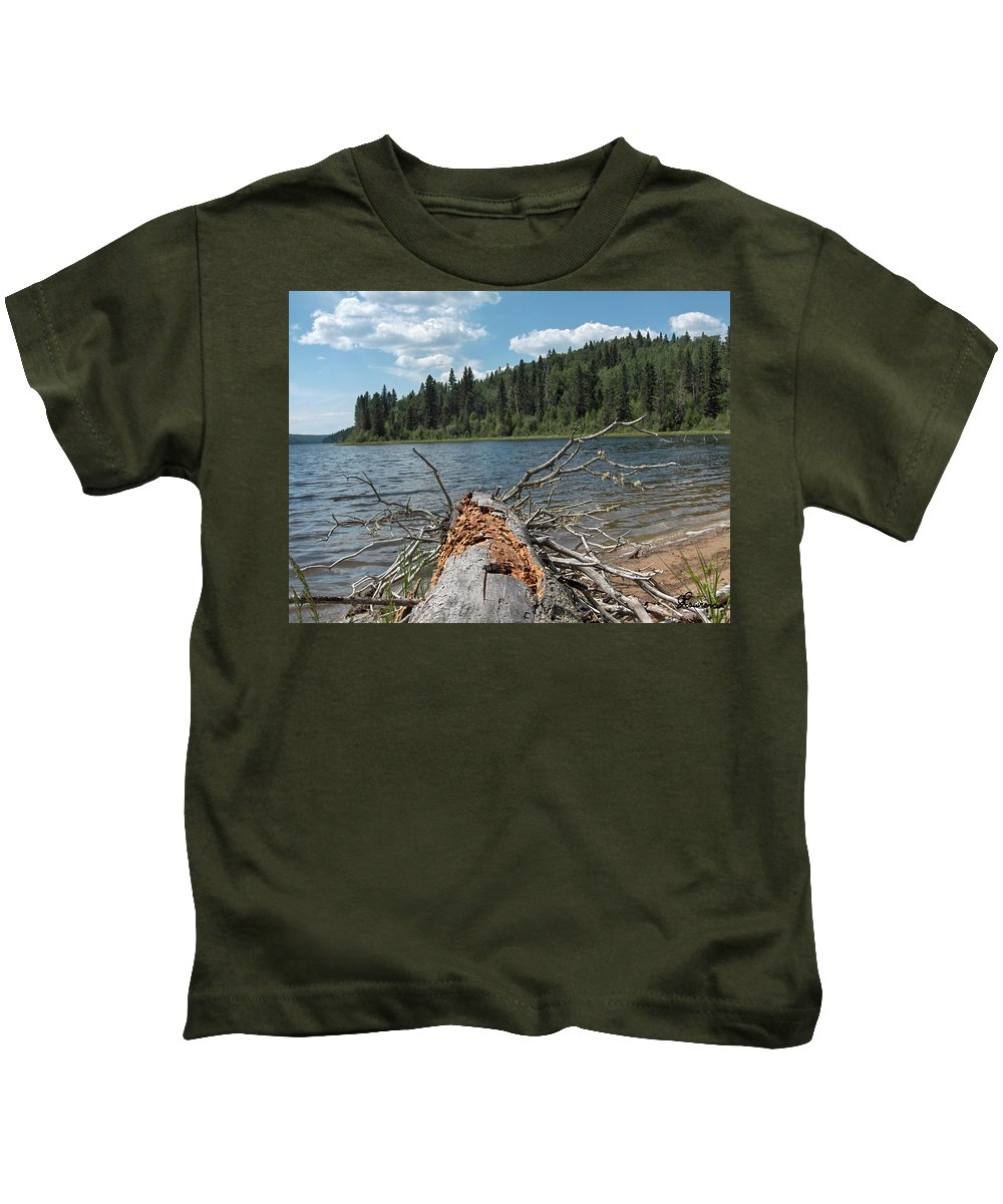 Water Lake Scenery Trees Wood Forest Driftwood Branches Shore Beach Kids T-Shirt featuring the photograph Steepbanks Lake The Fallen by Andrea Lawrence