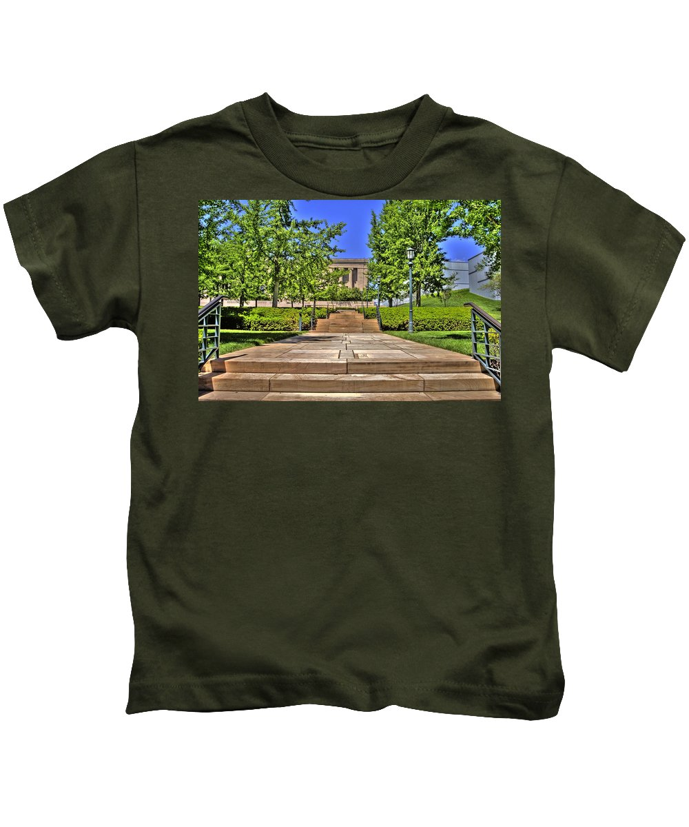 Hdr Kids T-Shirt featuring the photograph Steps To The Nelson by Timothy Bischoff