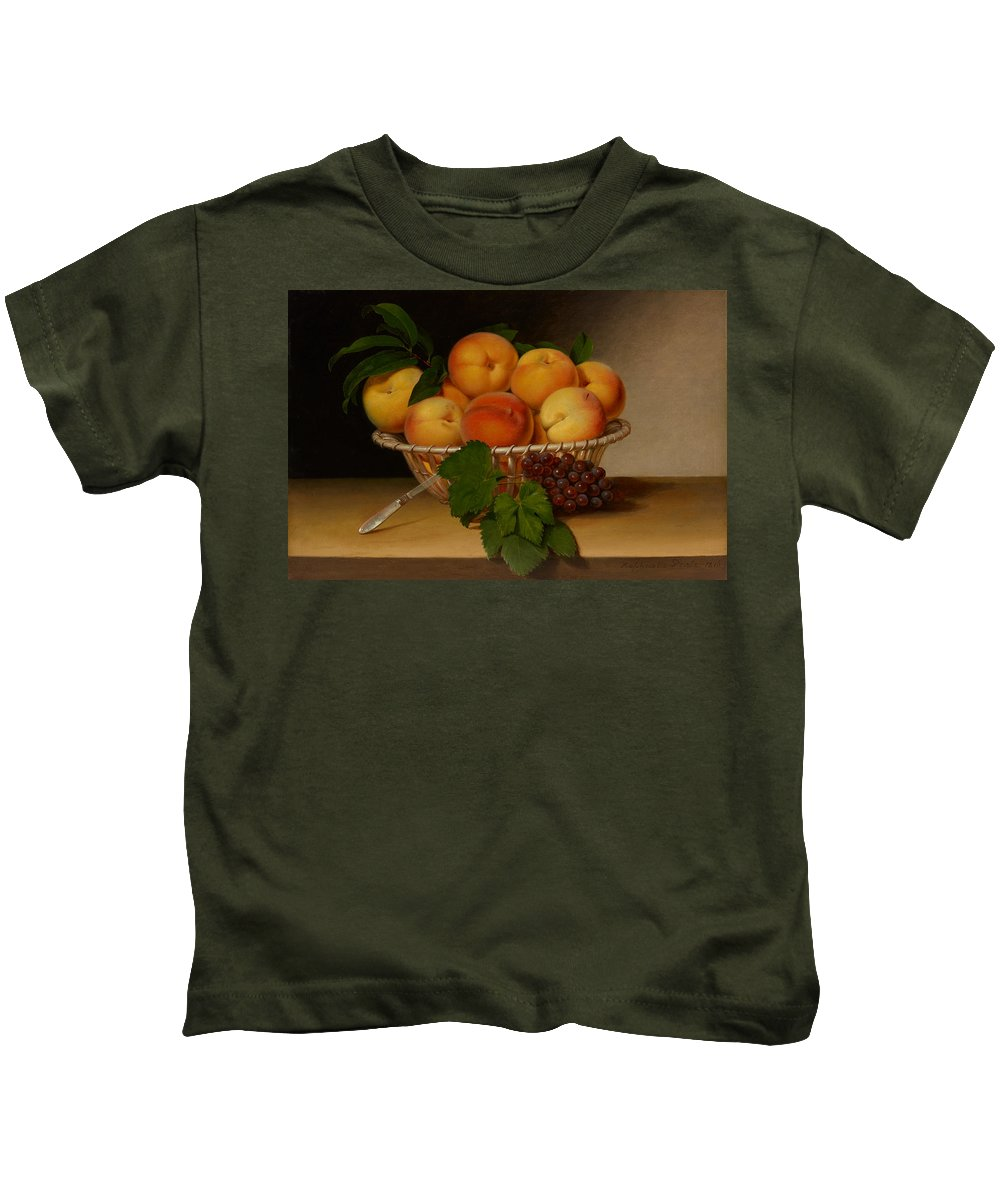 Painting Kids T-Shirt featuring the painting Still Life - Basket Of Peaches by Mountain Dreams