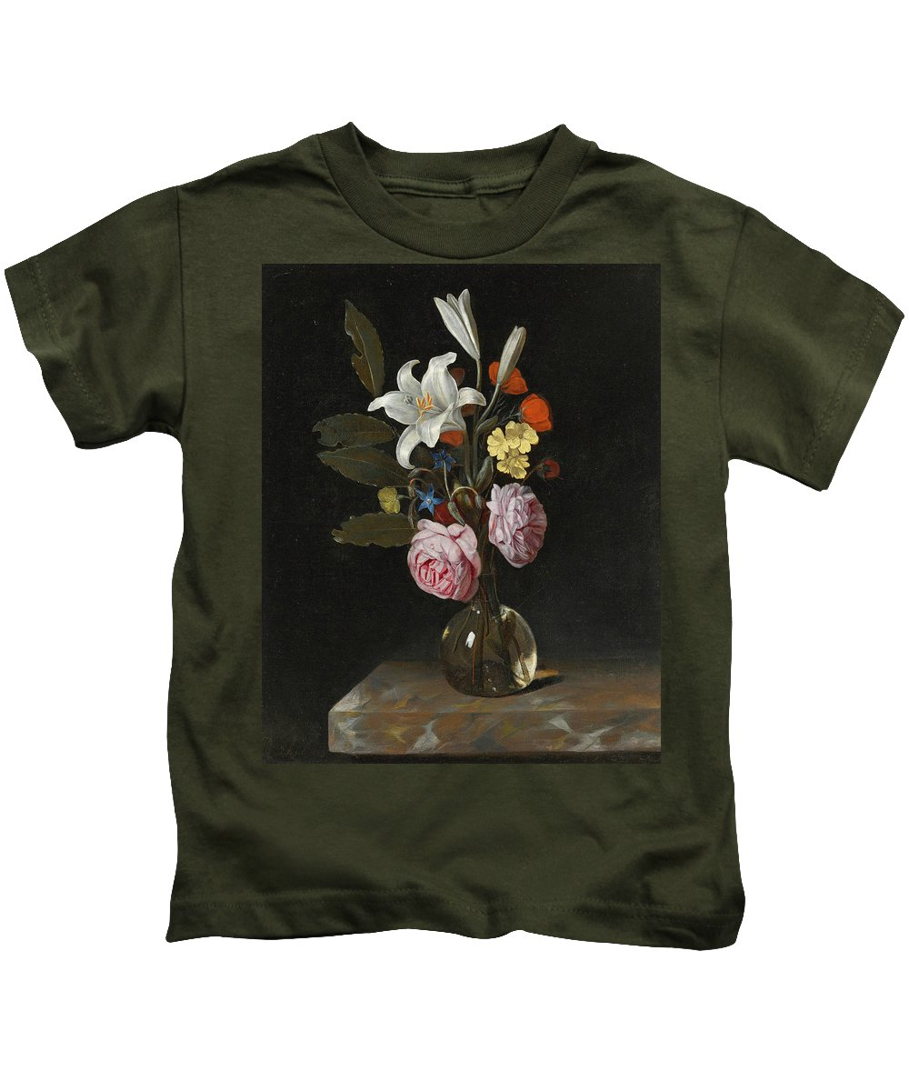 Cornelis Kick Kids T-Shirt featuring the painting Still Life Of Roses Lilies And Other Flowers In A Glass Vase On A Marble Ledge by Cornelis Kick