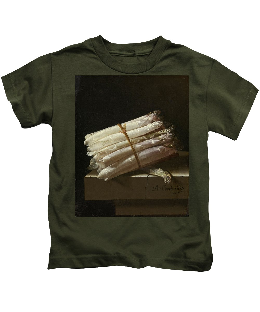 Adriaen Coorte Kids T-Shirt featuring the painting Still Life With Asparagus by Adriaen Coorte