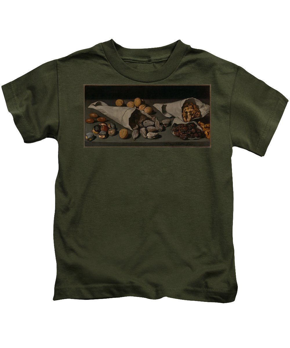 Painting Kids T-Shirt featuring the painting Still Life With Dried Fruit by Mountain Dreams