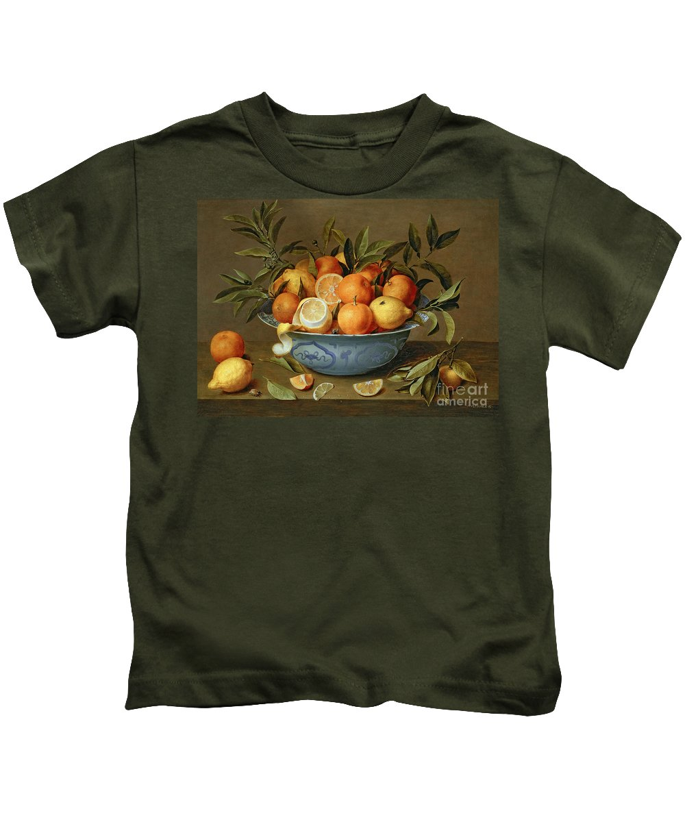 Still Kids T-Shirt featuring the painting Still Life With Oranges And Lemons In A Wan-li Porcelain Dish by Jacob van Hulsdonck
