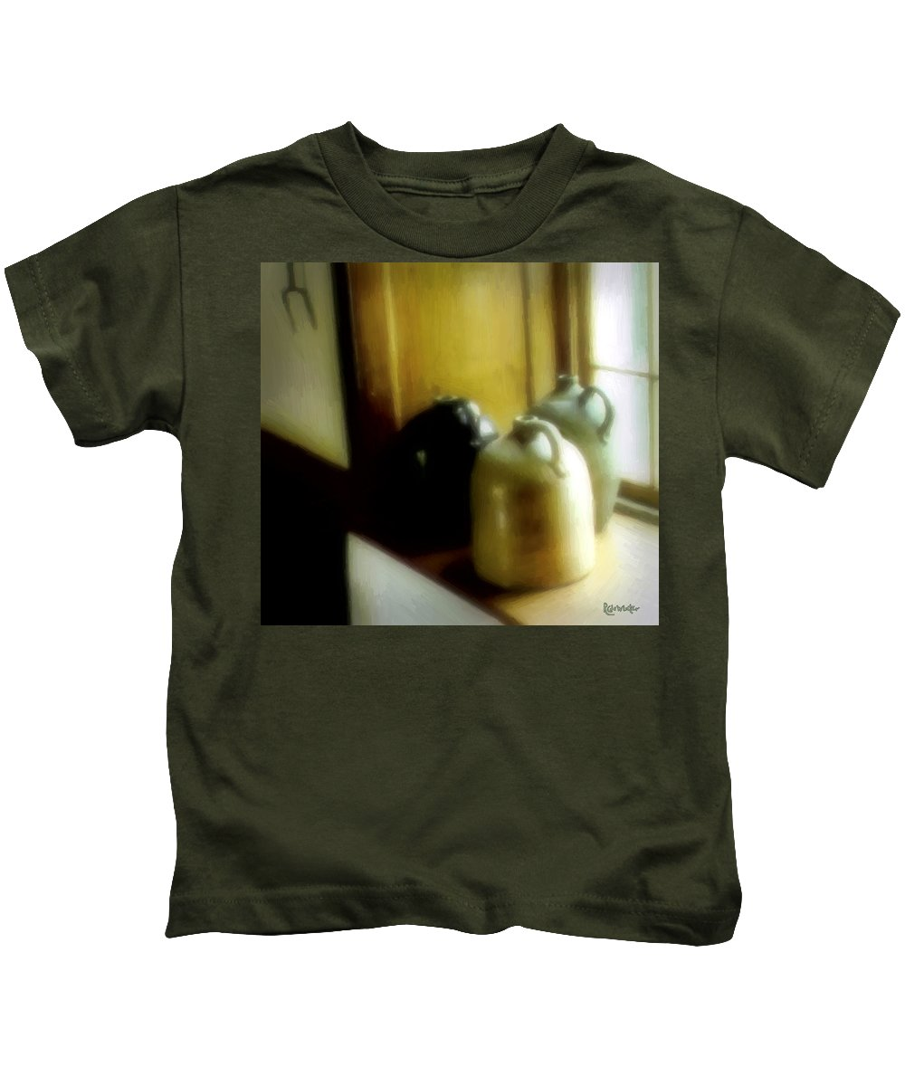 Antiques Kids T-Shirt featuring the digital art Still Life With Stoneware by RC DeWinter