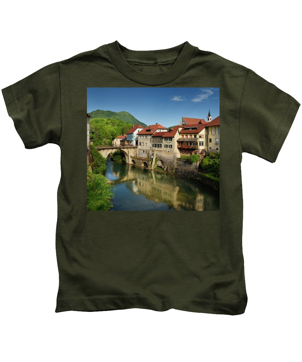Stone Kids T-Shirt featuring the photograph Stone Capuchin Bridge With Statue Of St John Of Nepomuk With His by Reimar Gaertner