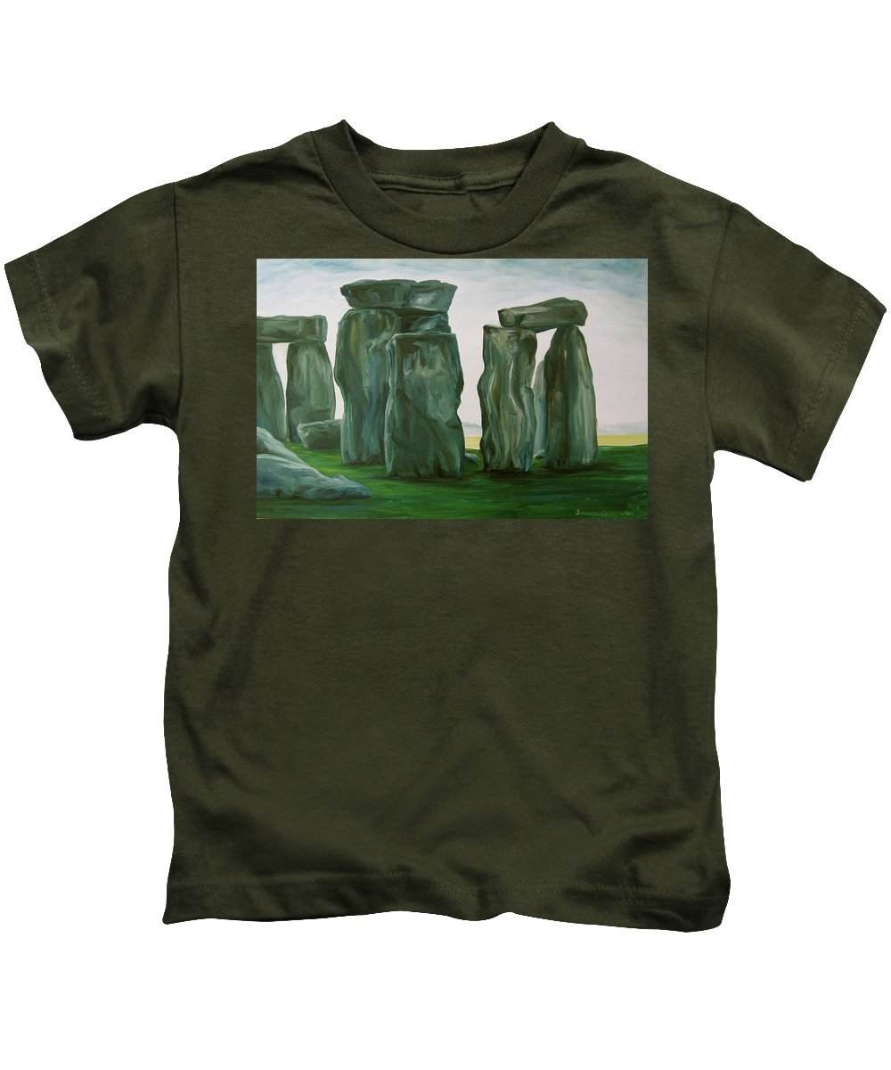 Stonehenge Kids T-Shirt featuring the painting Stonehenge In Spring 2 by Jennifer Christenson